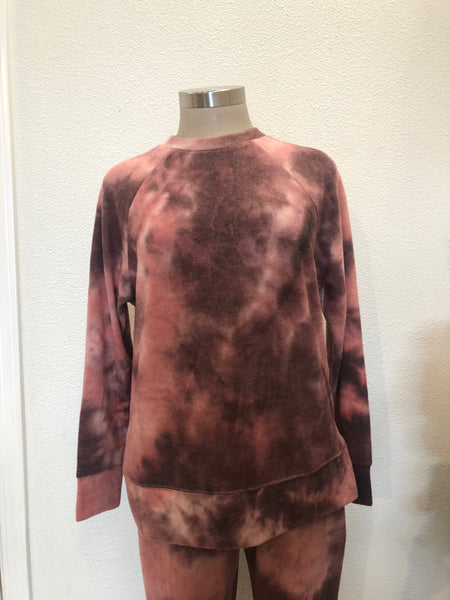 Mauve Sky Round Neck Raglan Long Sleeve Top