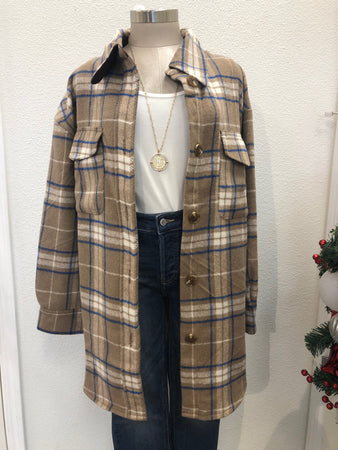 Mocha Oversized Long Plaid Shacket