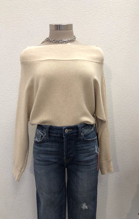 Beige Boat Neck Sweater
