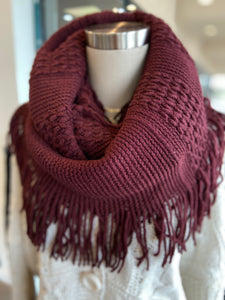 Infinity Scarf with Fringe Burgundy