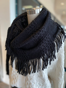 Infinity Scarf with Fringe Black