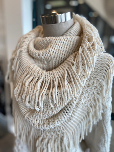 Infinity Scarf with Fringe Cream