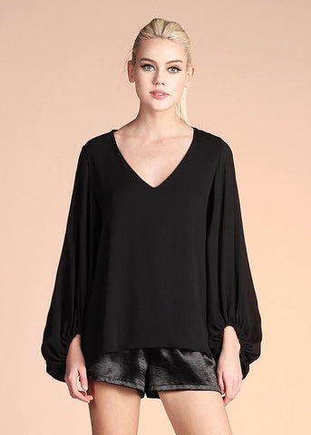 Crinkle Solid Balloon Sleeve Top