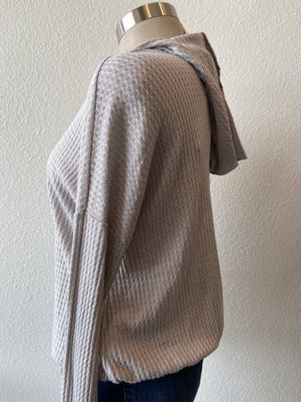 Waffle Button-Up Sweater Hoodie