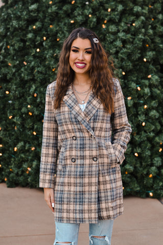 Multi-Plaid Double Breasted Long Coat