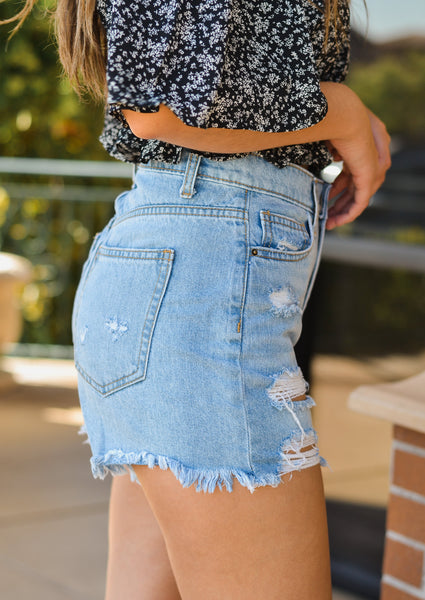 High Rise Medium Distressed Shorts