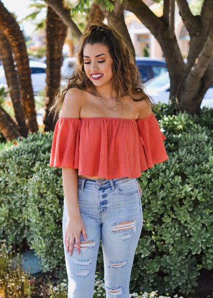 Cotton Gauze Off the Shoulder Bell Sleeve Top - Coral