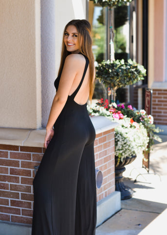 Open Back Wide Leg Jumpsuit