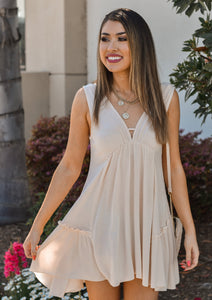 Solid Cream V-Neck Swing Dress