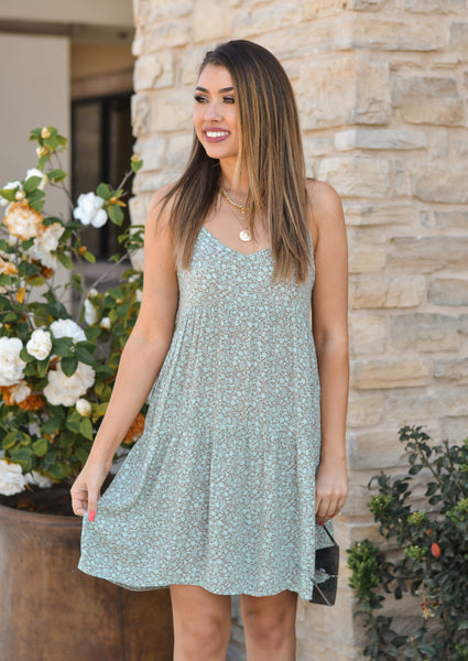 Sea Foam Floral Tiered Dress
