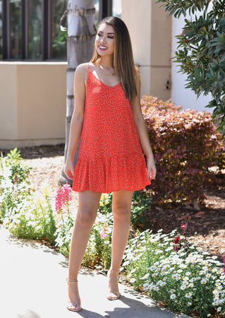 Red Petal Twill Mini Dress
