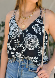Flower Print Strappy Tie Back Swing Tank