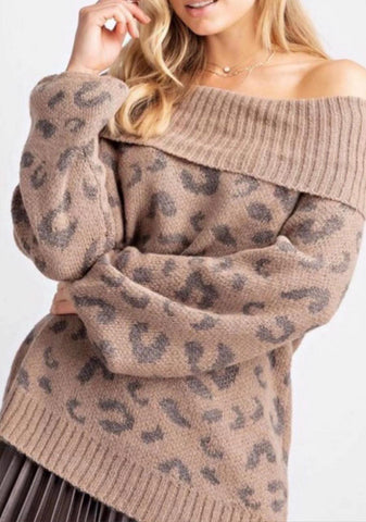 Leopard Off The Shoulder Sweater