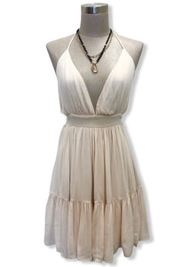 Oatmeal Flutter Halter Dress