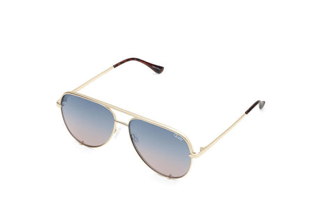 Quay High Key Mini Sunglasses - Gold/Navy-Peach