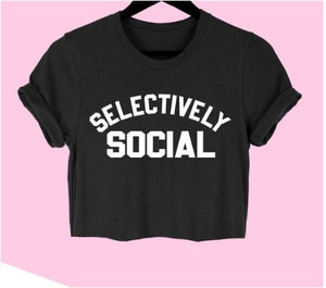 Selectively Social Crop T Shirt