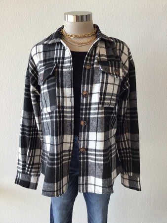 Plaid Flannel Button Up Shacket