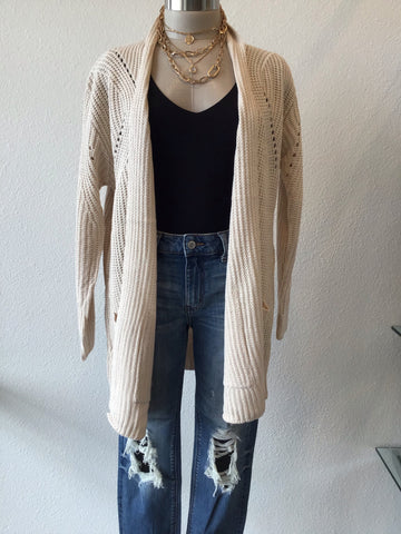 Long Knit Cardigan with Pockets