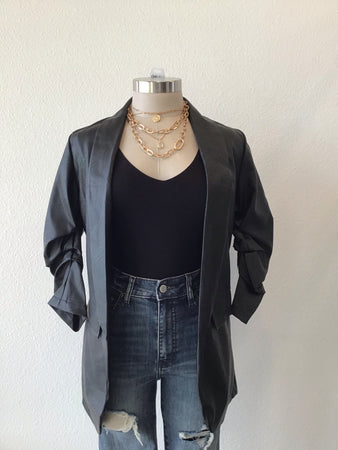 Ruched Sleeve Pleather Blazer