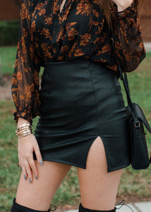 Pleather Mini Side Slit Skirt
