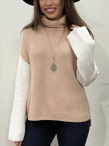 Taupe Block Sweater