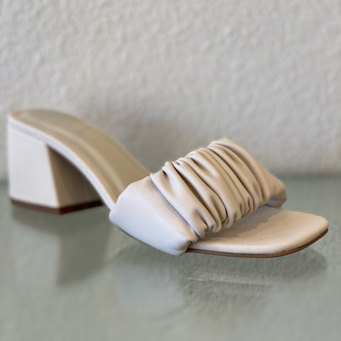 Ruched White Chunky Heel Sandal