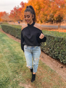 Cold Shoulder Twist Front Sweater