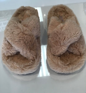 Criss Cross Fuzzy Slippers-Taupe