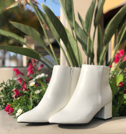 Rapid White Leather Bootie