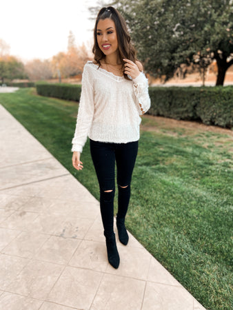 Fuzzy Lace Lined Sweater