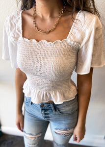 Puff Sleeve Smocked Top - Off White