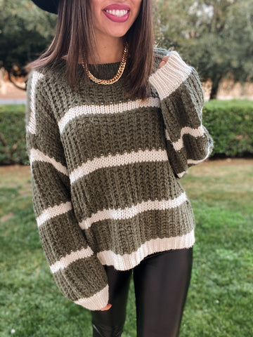 Olive/Cream Stripe Sweater