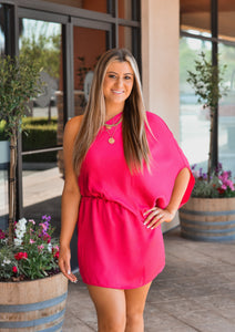 Fuchsia Slouchy One Shoulder Dress