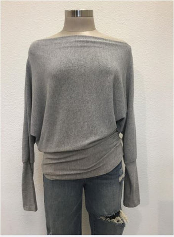 Crepe Hacci Top- Light Grey