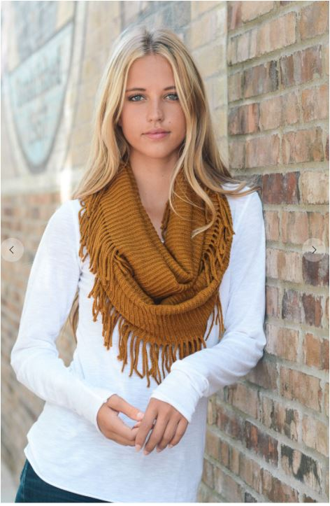 Infinity Scarf with Fringe Camel