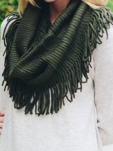 Infinity Scarf with Fringe Olive
