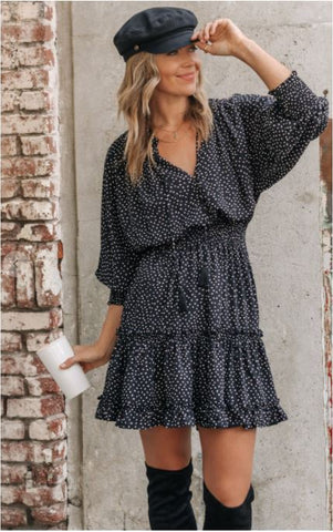 Polka Dot Ruffle High Neck Dress