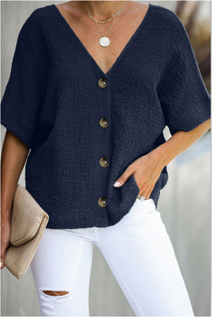 Nicki  Over sized Button Up Blouse-Navy