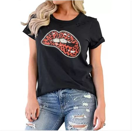 Black Leopard Tongue Distressed T-Shirt