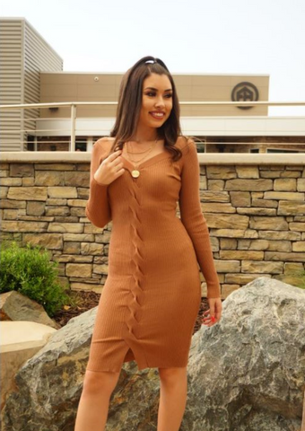 V Neck Sweater Dress
