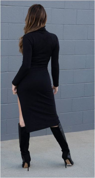Cut Out Turtleneck Dress