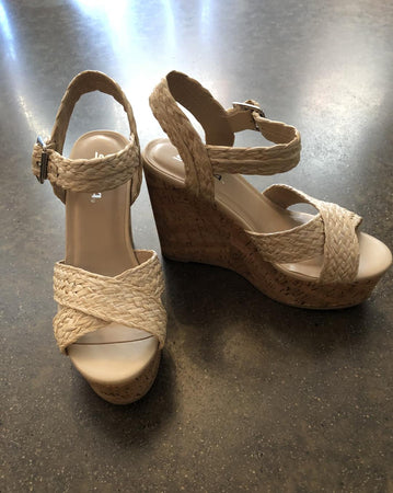 Natural Raffia Wedge Sandals