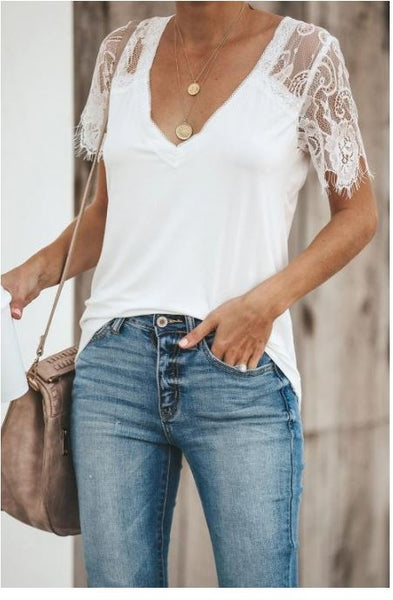 Lace Detail Knit Top