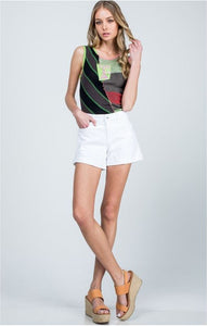 White Midrise Boyfriend Shorts