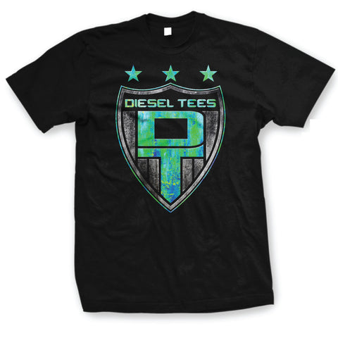 Diesel Tees Logo T Shirt Blue/Green