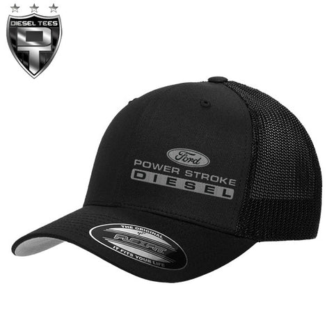 Ford Power Stroke Diesel FlexFit Black Trucker Hat Grey Logo