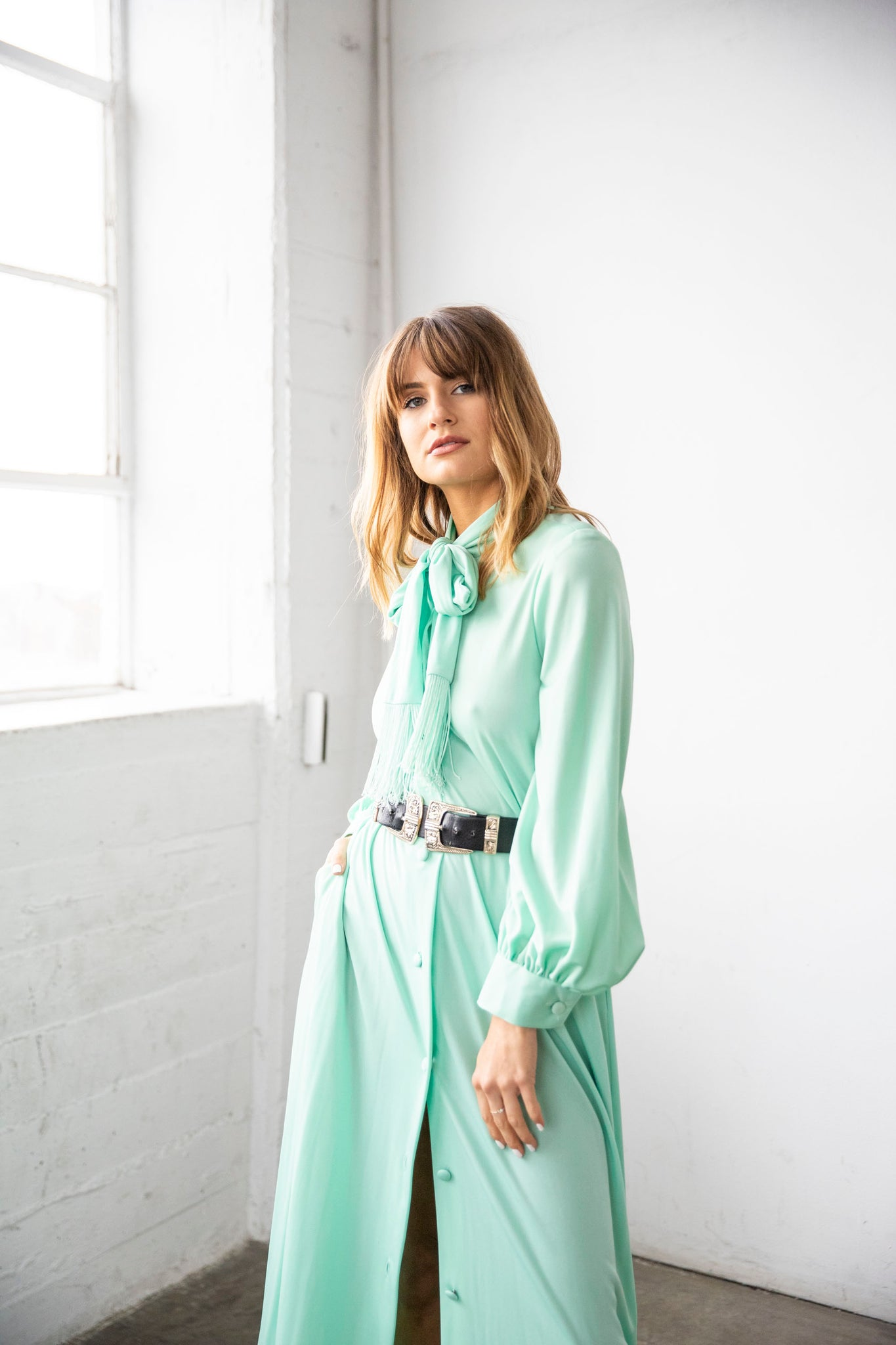 I.MAGNIN mint dress