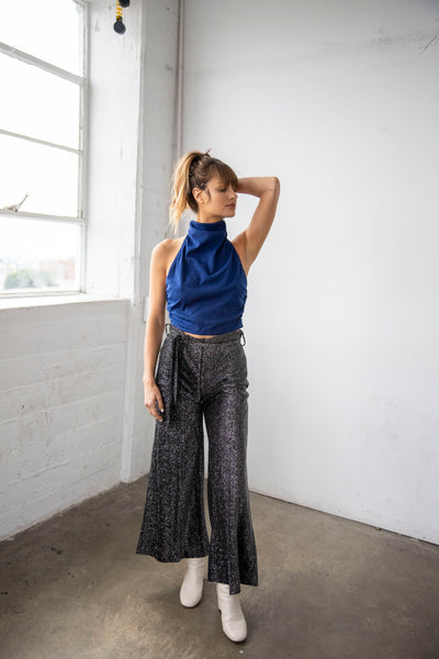disco lurex wide leg crop pants
