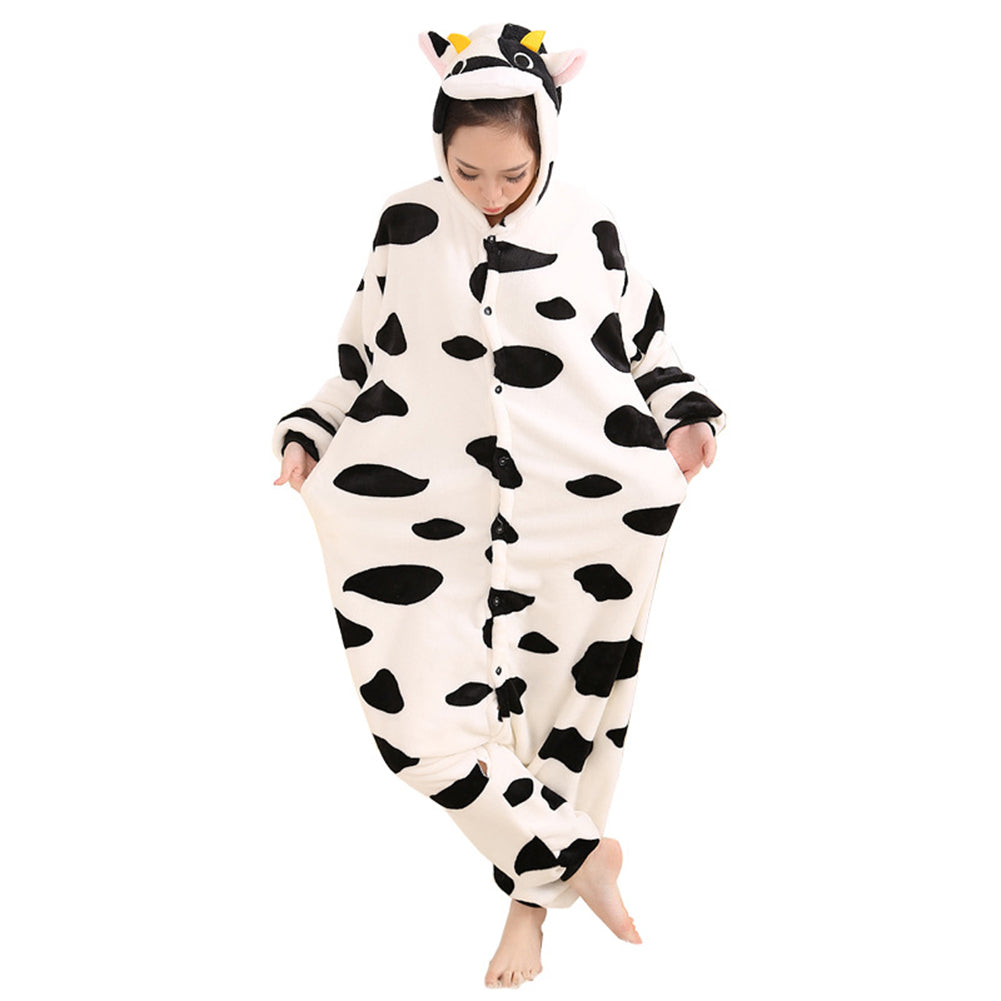 Afoxsos Women's Cosplay Flannel Anime Cartoon Onesie Adult Pajamas Cow