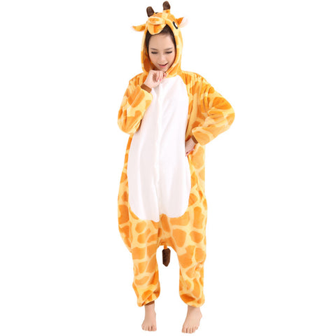Afoxsos Women's Soft Fleece Animal Cartoon Onesie Adult Pajamas Giraffe